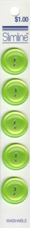 2 Hole Button Lime 3/4in 5ct