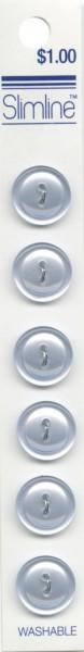 2 Hole Button Light Blue 9/16in 6ct