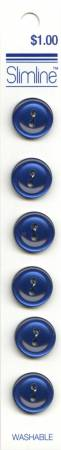 2 Hole Button Navy 9/16in 6ct