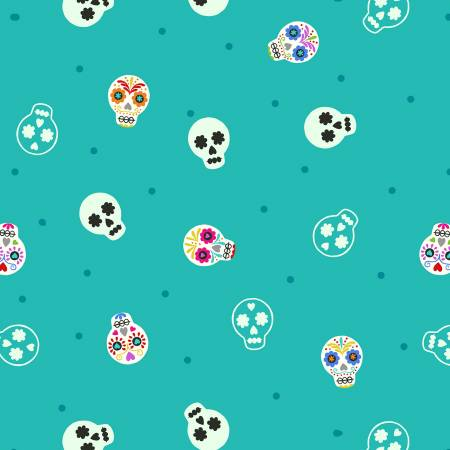 Small Things Glow - Sugar skulls on turquoise Glows in the Dark