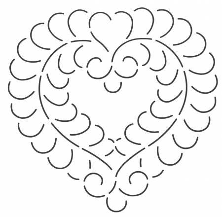 Quilt Stencil Feather Heart