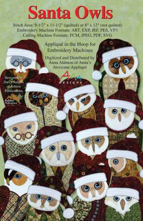 CD Santa Owls Machine Embroidery