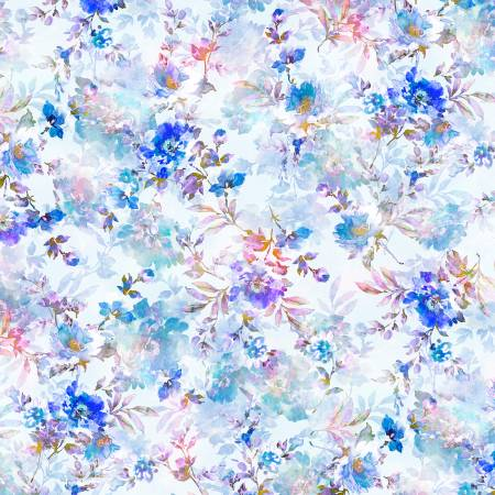 Extra Wide Backing Sophia Floral Blue 108in