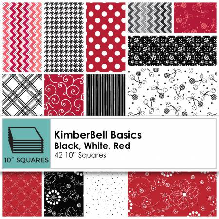 10in Squares Kimberbell Basics Black/White/Red 42pcs