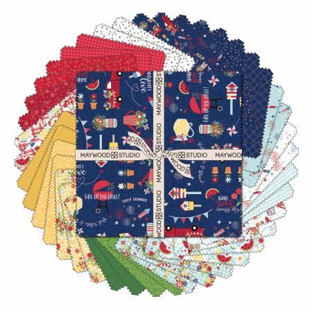 10in Squares Red, White & Bloom, 42pcs/bundle