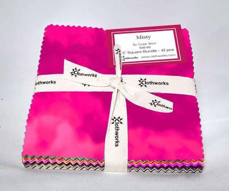 Sq0186 Begonia 5 Squares Misty 42pcs Clothworks