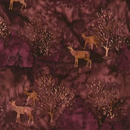 Wine Deer Artisan Batiks Forest Trails