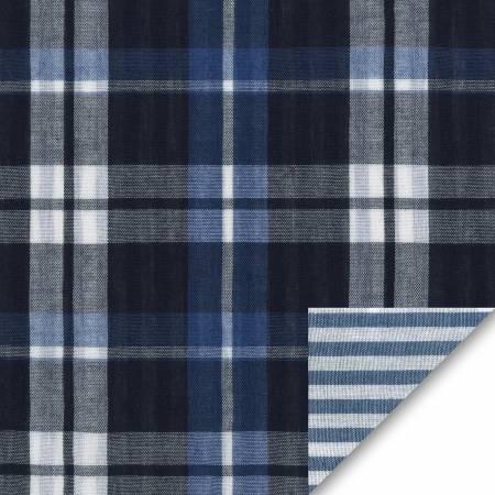 Indigo Plaid/Stripe Denim Reversible Double Weave Yarn Dye