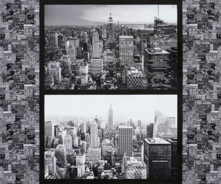 Gotham Grey Cityscapes Panel 36in repeat