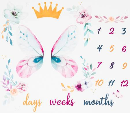 White Butterfly Days Weeks Month Panel 36in repeat