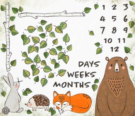 White Forest Animals Days Weeks Months Panel 36in repeat