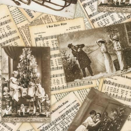 Robert Kaufman Library of Rarities Christmas SRKD-20460-200 Music Vintage Christmas