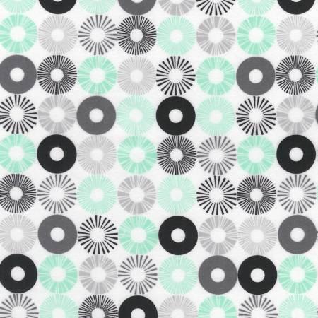 Kaufman Cozy Cotton Flannel Mint Circles