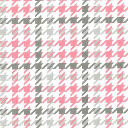 1 yd Cozy Cotton Flannel - Bubble Gum Houndstooth Flannel