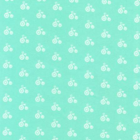 Kaufman Cozy Cotton Flannel Seafoam Bicycle