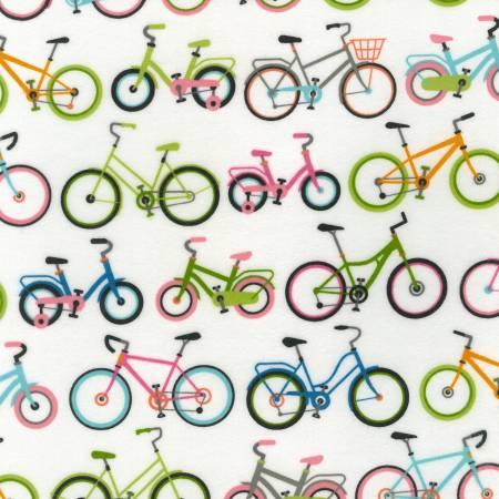 Robert Kaufman Cozy Outdoors Flannel 20448-287 Bicycles Sweet