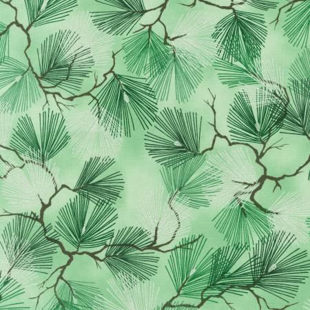 Green Pine Tree Branches w/Metallic