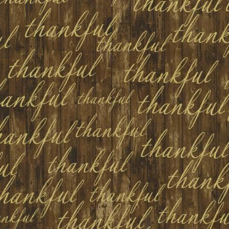 Autumn Beauties - Thankful Text - Nutmeg with Metallic