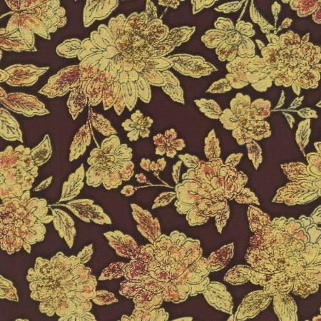 Copper Flowers w/Metallic - Fiorella by Robert Kaufman Fabrics