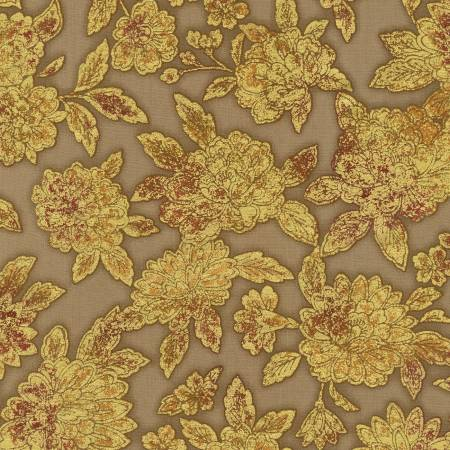 Nutmeg Flowers w/Metallic - Fiorella by Robert Kaufman Fabrics