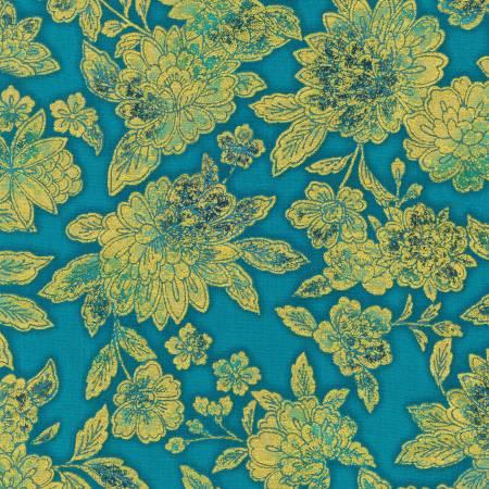 Teal Flowers w/Metallic - Fiorella by Robert Kaufman Fabrics