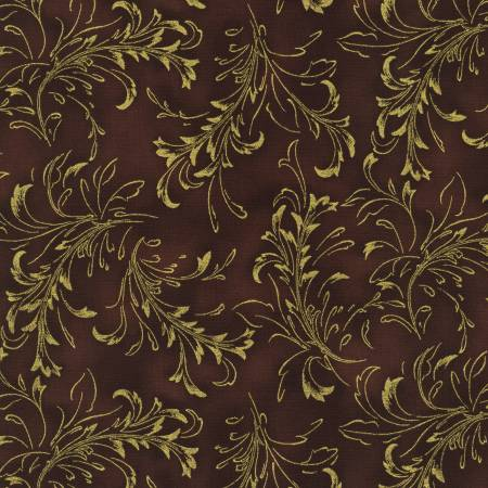 Copper Fleurish Blender w/Metallic - Fiorella by Robert Kaufman Fabrics