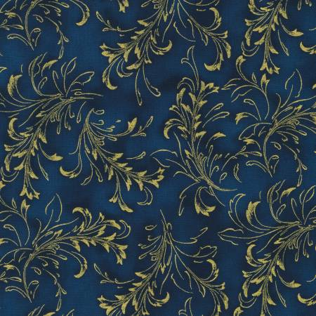 Navy Fleurish Blender w/Metallic - Fiorella by Robert Kaufman Fabrics