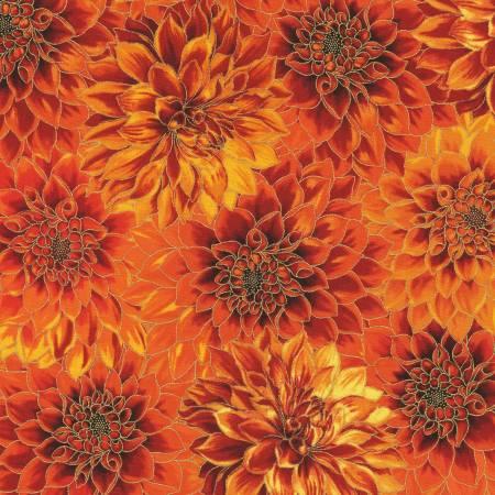 Flowers Flame Autumn w/Metallic by Robert Kaufman