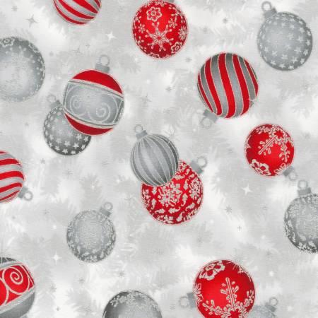 Robert Kaufman Holiday Flourish - Ornaments Silver Christmas w/Metallic