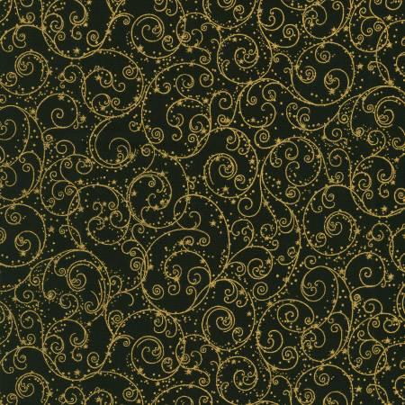 Holiday Flourish 14 - Swirls Black Christmas w/Metallic