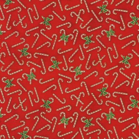 Holiday Charms - Candy Canes Red Christmas w/Metallic