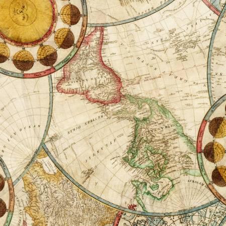 Vintage World Map Digital 108in Wide Back