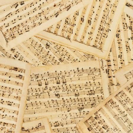 Antique Music Sheets Digital 108in Wide Back