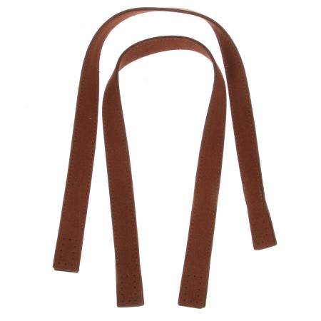 Suedette 20in Bag Handles With Sandwich Attachments Brown