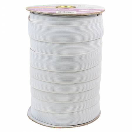 Polyester Braid Elastic 1in White (sold by the yard)