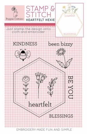 Rubber Stamp & Stitch Heartfelt Hexie Label