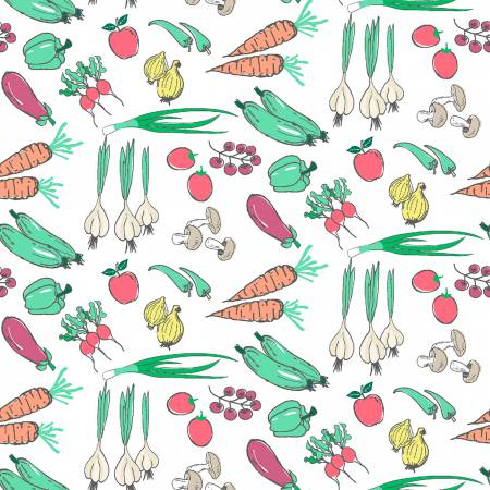 Vegetables on White - Carrots, Onions, Radishes, Cucumbers, Peppers, Mushrooms by Dear Stella