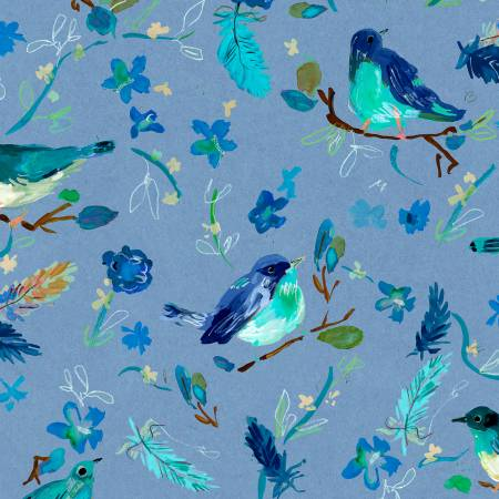 Multi Blue Romantic Birds