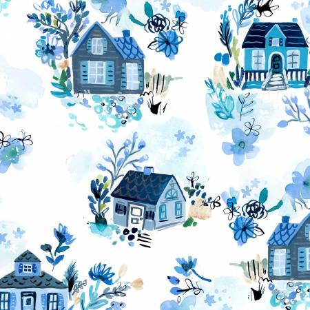 White Blue Cottages