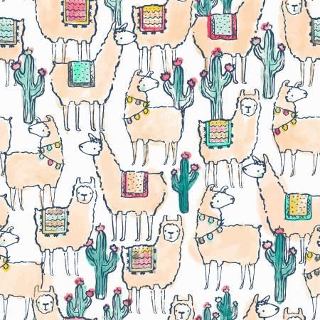 White Llamaste Knit, 58in Wide, by Dear Stella