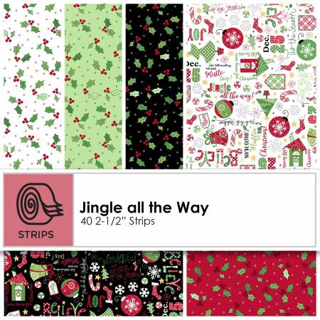 2-1/2in Strips Jingle all the Way 40pcs