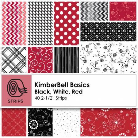 2-1/2in Strips Kimberbell Basics Black/White/Red 40pcs