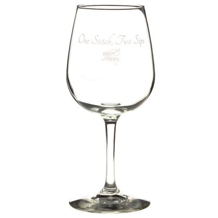 Stitch Happy Wine Glass