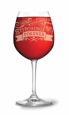 Stitching Forever Wine Glass