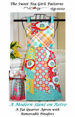 Modern Slate on Retro - A Fat Quarter Apron with Removable Pinafore