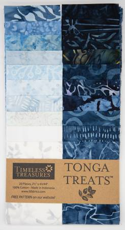 2-1/2in Strips Tonga Batik Blue Moon, 20pcs/bundle