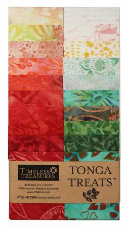 2-1/2in Strips Tonga Batik Poppy, 20pcs/bundle