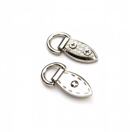 HARDWARE - NICKEL Decorative Mini Strap Connectors 2ct