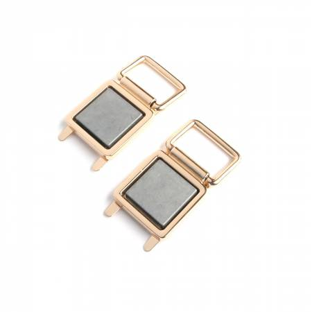 Fabric Covered Strap Connectors Gold 4ct