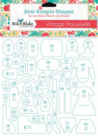 Bee in My Bonnet Vintage Housewife Vintage Happy 2 Sew Simple Shapes Template Set STT-14753